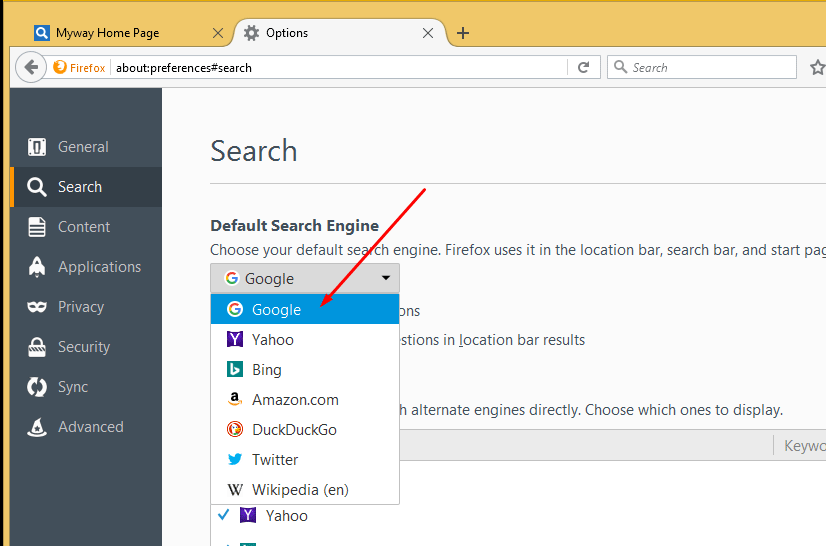 Default Firefox Search engine