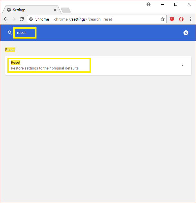 reset the browser to default settings