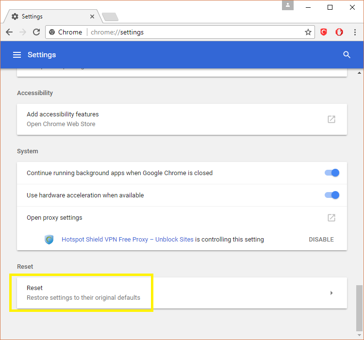Reset Chrome browser setting