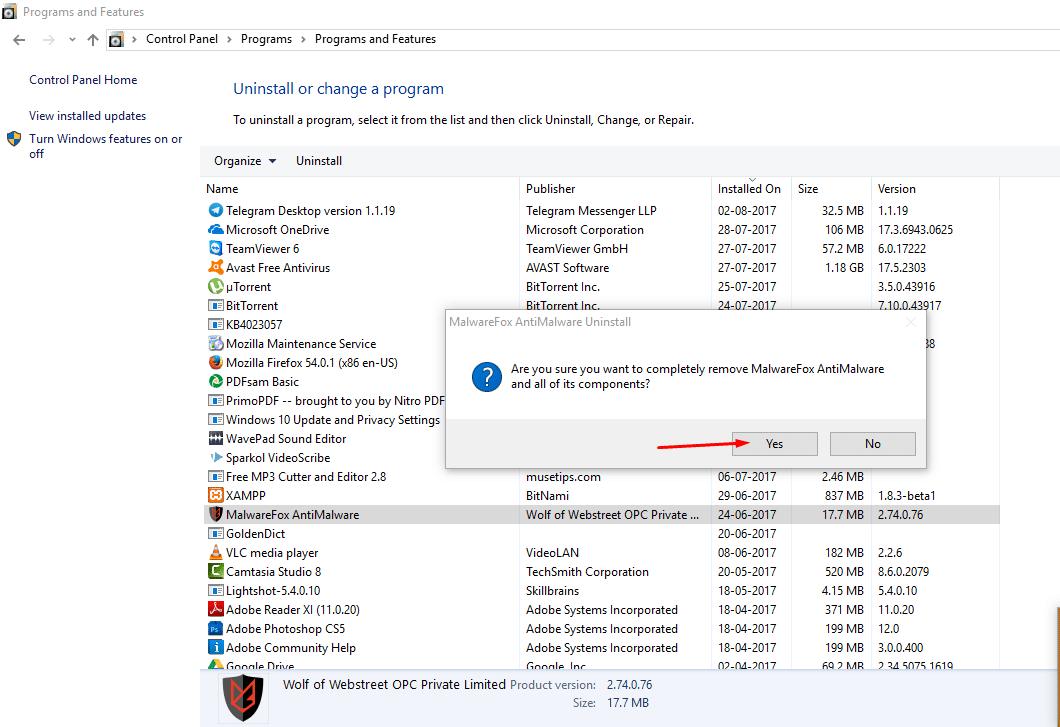 Uninstall MalwareFox 4